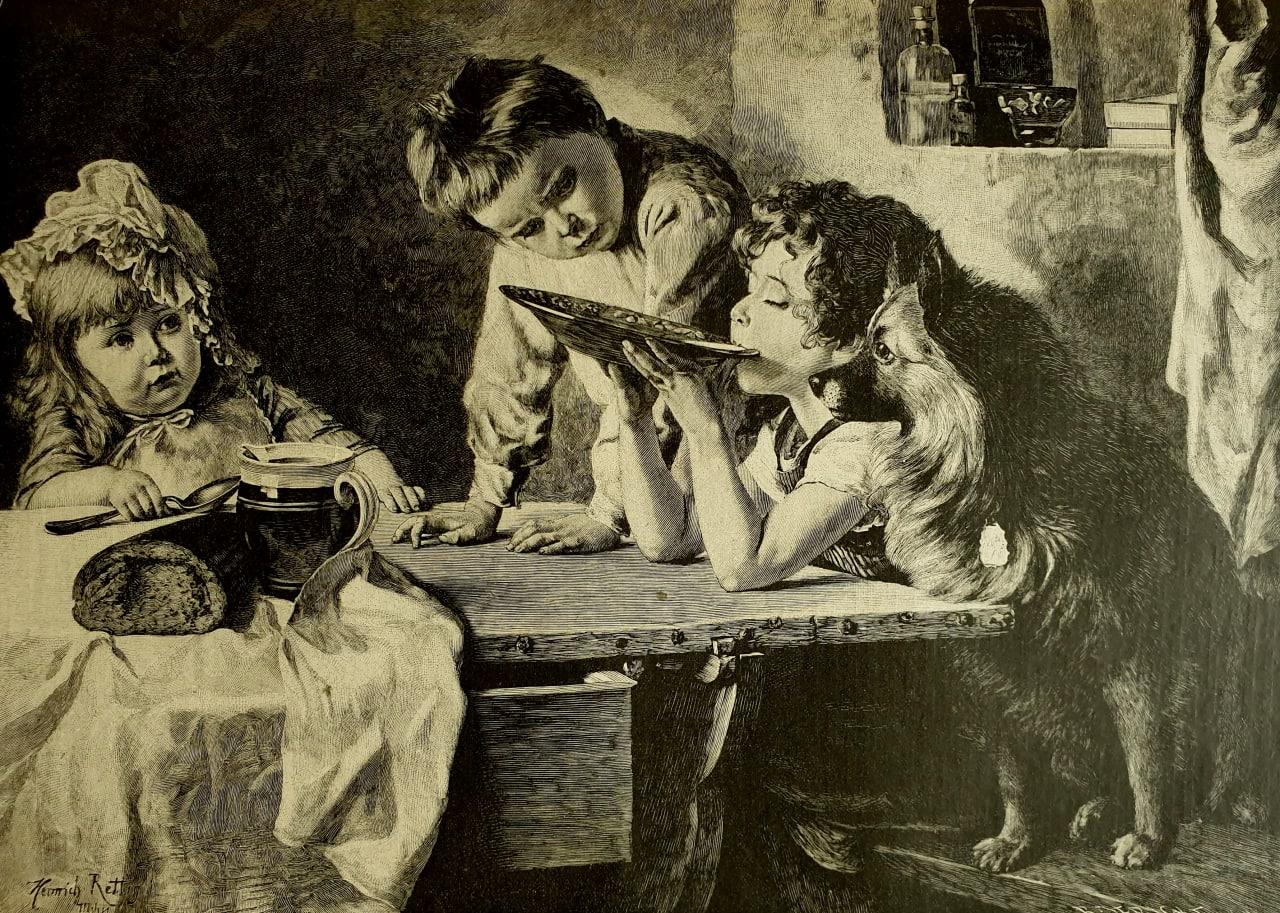 Не облилась-бы!  Детям роздали молоко и ложки; но это процедура скучная...