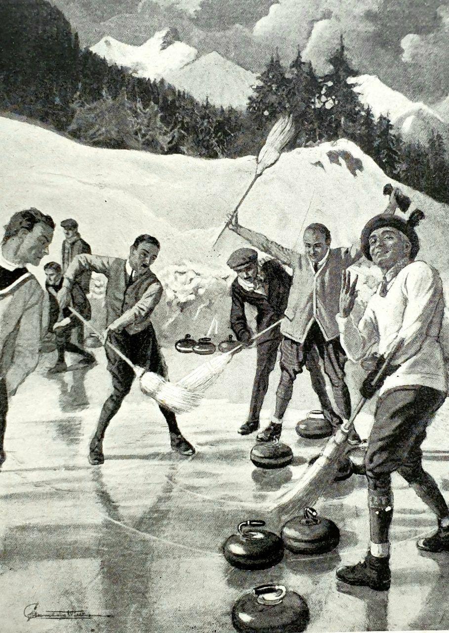 """""""Новый видъ спорта въ Швейцарiи - 《curling》. Металлическiе  утюги гоняются и..."""
