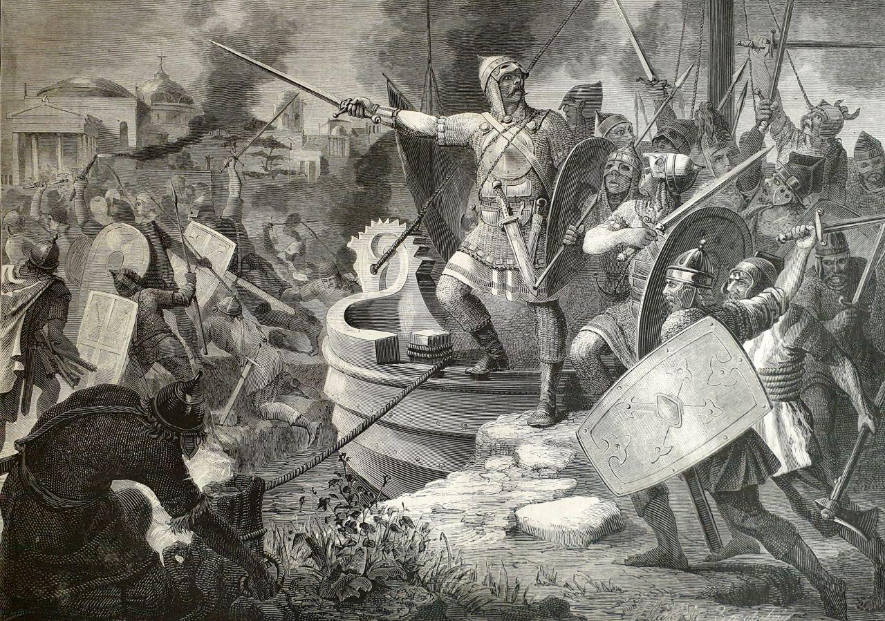 Великий князь Олег под стенами Константинополя в 906 году. Дружина Олега...