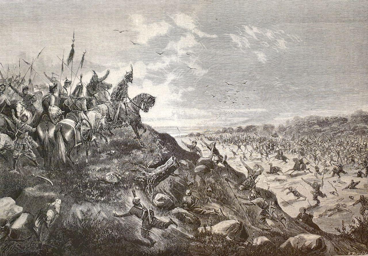 Разбитие татарского хана Мамая русскими войсками