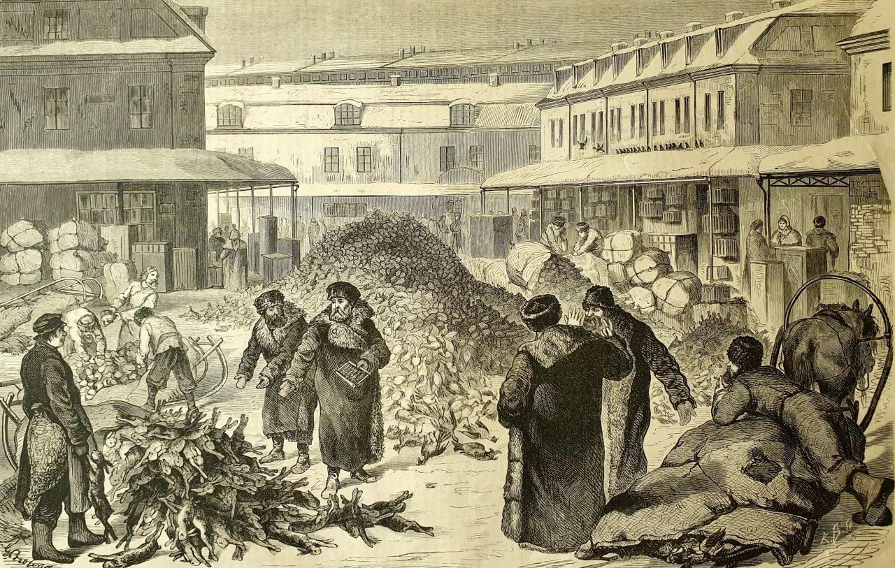 Привоз дичи на Апраксинский рынок перед Пасхою  По мере того, как в жизни, к...