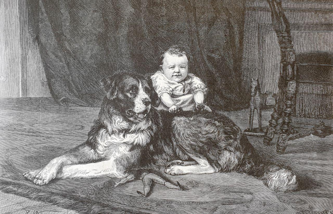 Маленький мучитель  С картины Р.Виммера, гравировал Шпехт, 1881.