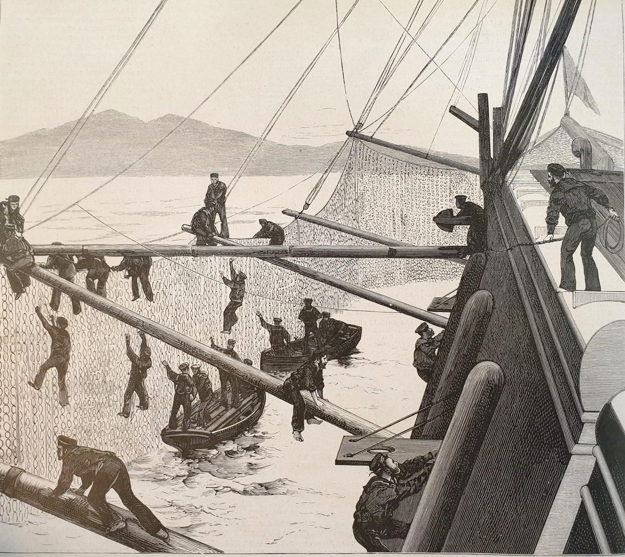 Торпедныя кольчуги эскадры въ Блексодбаѣ  Что-бы ни говорили о торпедахъ...