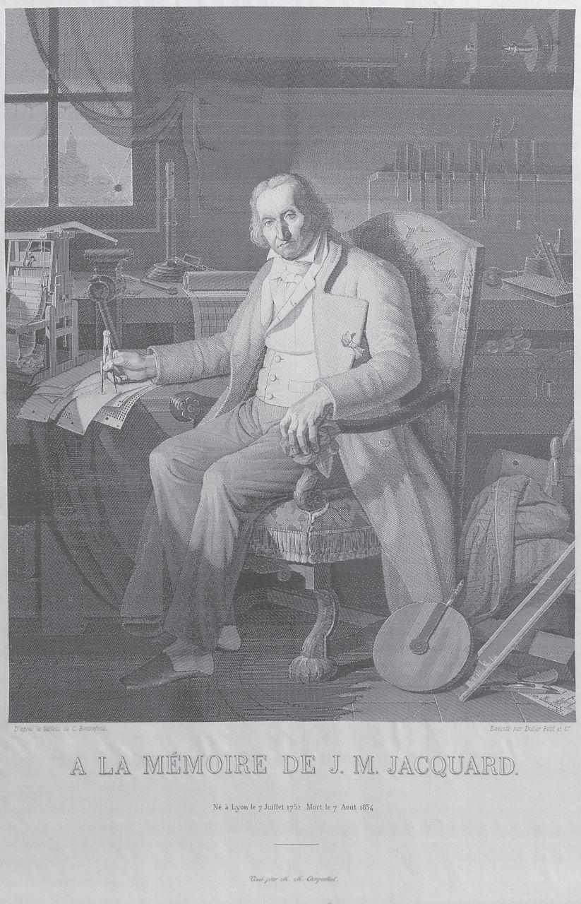 Тканый портрет Жозеф Мари Жаккарда (изобретатель ткацкого станка для узорчатых...