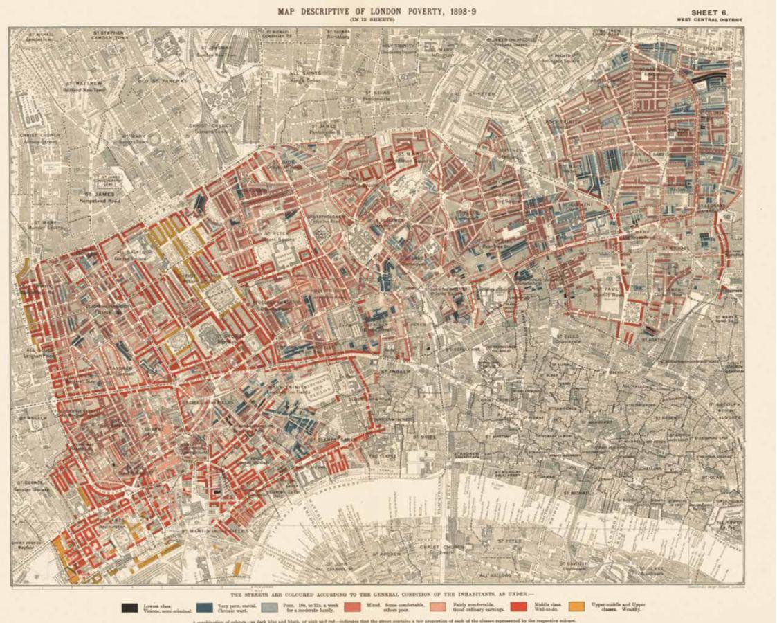 «Карта бедности» в Лондоне (Чарльз Бут, 1898–1899) – ранний пример...