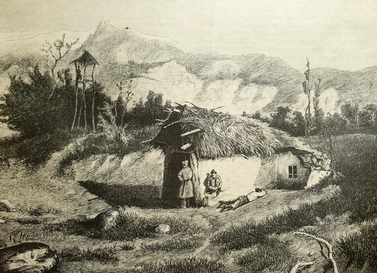 Казачій кордонъ  Ориг. рис. Н. Кравченко, грав. Флюгель. Журналъ «Нива», 1890...
