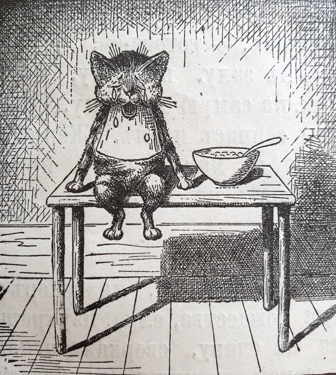 Непослушный котенокъ  Вася мамы не дождался, Изъ чашки молочка...