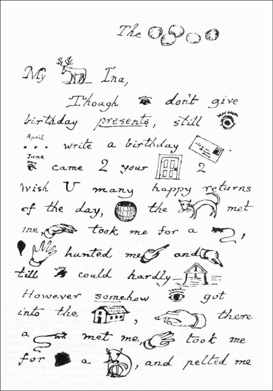 1. Сможете прочитать письмо-ребус Льюиса Кэррола (автор Алисы)?   2. Рукописная...