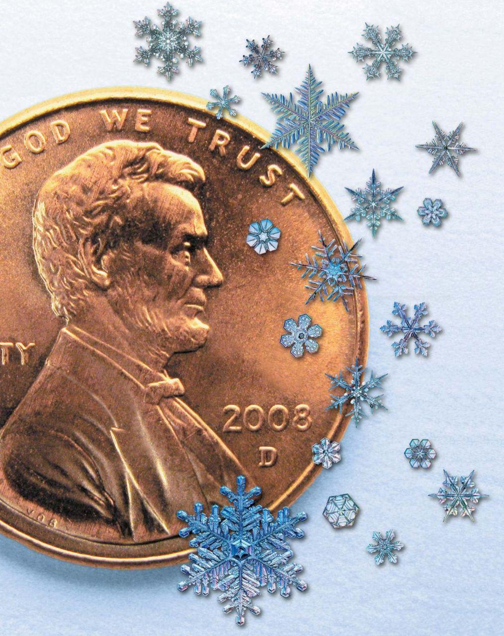 Сравнительные размеры разных видов снежинок. диаметр монеты ок. 2 см